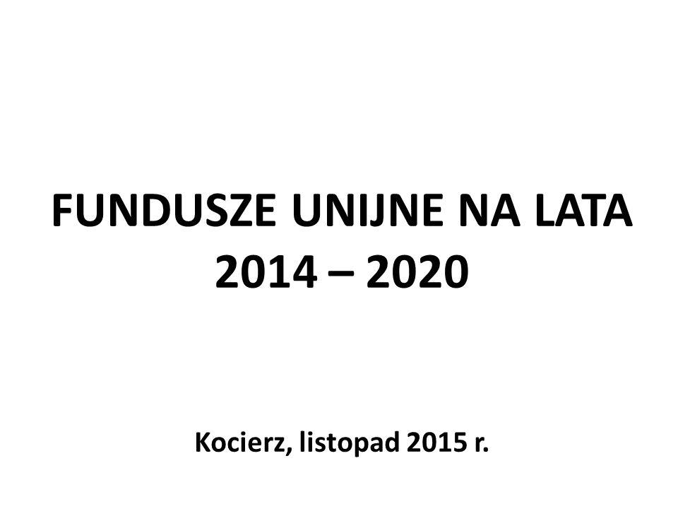 FUNDUSZE UNIJNE NA LATA 2014 – 2020 Kocierz, listopad 2015 r.