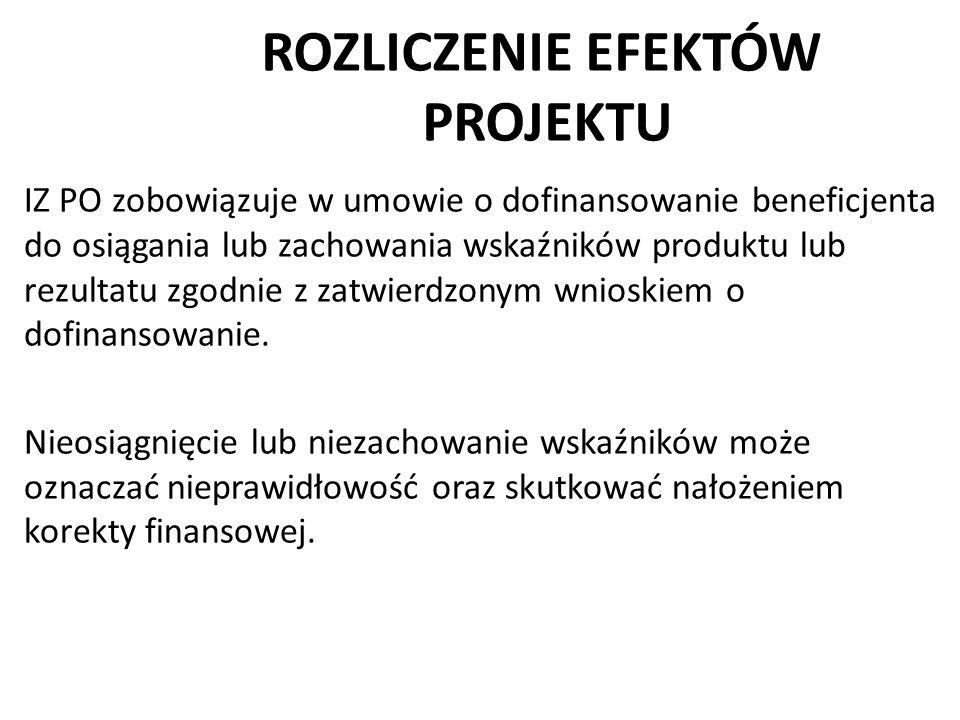 ROZLICZENIE EFEKTÓW PROJEKTU IZ PO zobowiązuje w umowie o dofinansowanie beneficjenta do osiągania lub zachowania wskaźników produktu lub rezultatu zg
