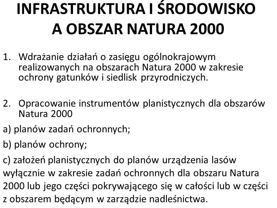 INFRASTRUKTURA I ŚRODOWISKO A OBSZAR NATURA 2000 1.Wdrażanie działań o zasięgu ogólnokrajowym realizowanych na obszarach Natura 2000 w zakresie ochron
