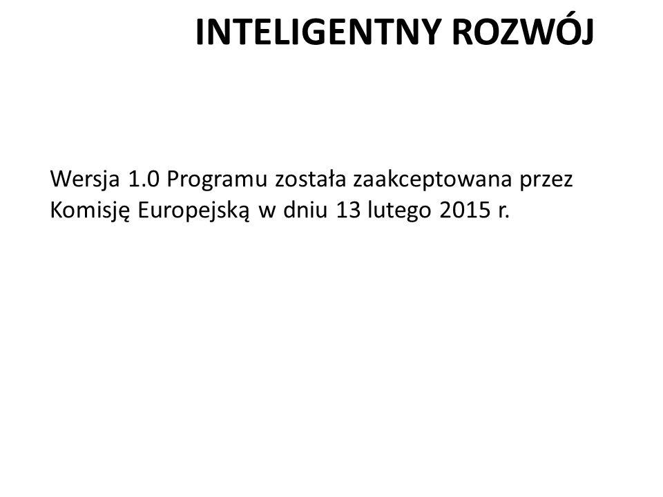 INTELIGENTNY ROZWÓJ Wersja 1.0 Programu została zaakceptowana przez Komisję Europejską w dniu 13 lutego 2015 r.