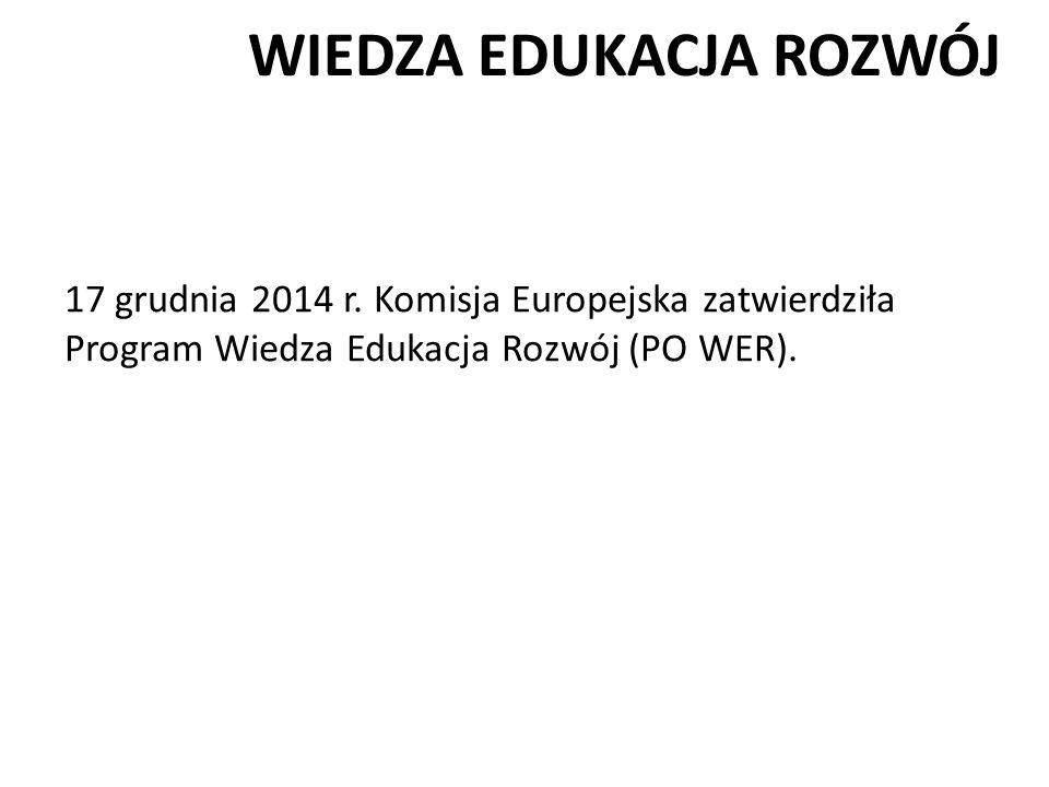 WIEDZA EDUKACJA ROZWÓJ 17 grudnia 2014 r. Komisja Europejska zatwierdziła Program Wiedza Edukacja Rozwój (PO WER).