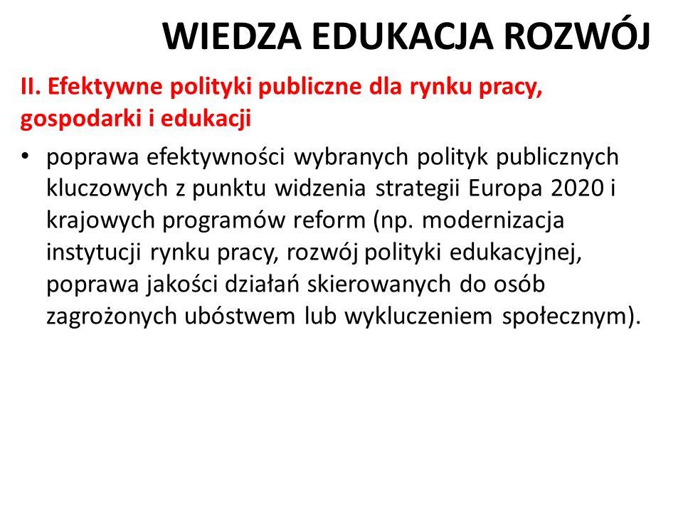 WIEDZA EDUKACJA ROZWÓJ II. Efektywne polityki publiczne dla rynku pracy, gospodarki i edukacji poprawa efektywności wybranych polityk publicznych kluc