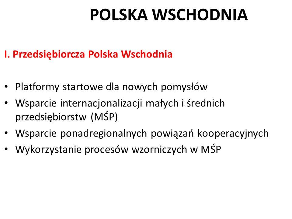 POLSKA WSCHODNIA I. Przedsiębiorcza Polska Wschodnia Platformy startowe dla nowych pomysłów Wsparcie internacjonalizacji małych i średnich przedsiębio
