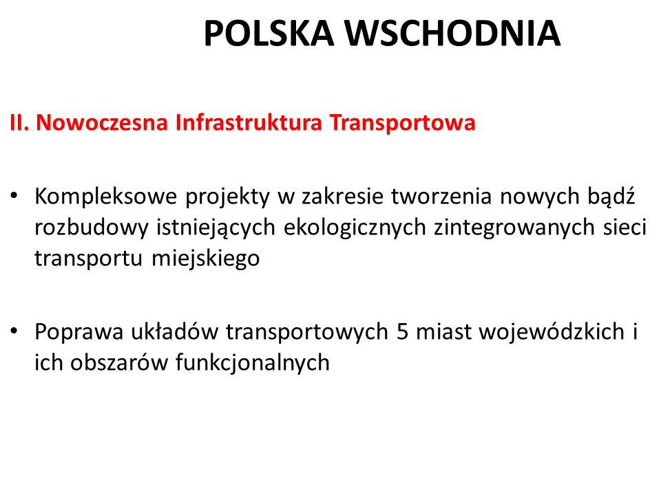 POLSKA WSCHODNIA II. Nowoczesna Infrastruktura Transportowa Kompleksowe projekty w zakresie tworzenia nowych bądź rozbudowy istniejących ekologicznych