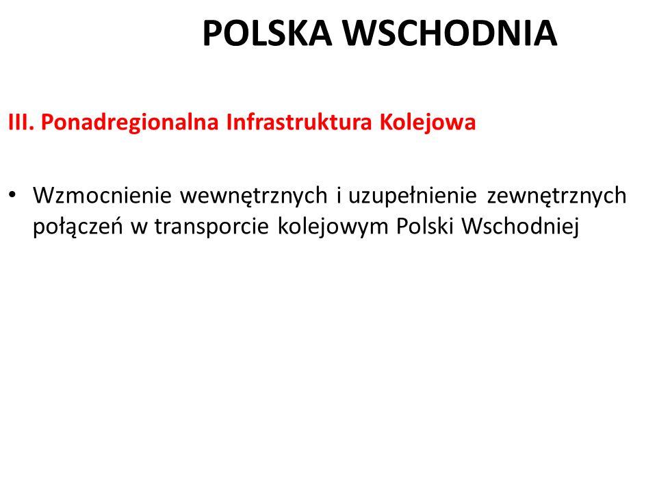 POLSKA WSCHODNIA III. Ponadregionalna Infrastruktura Kolejowa Wzmocnienie wewnętrznych i uzupełnienie zewnętrznych połączeń w transporcie kolejowym Po