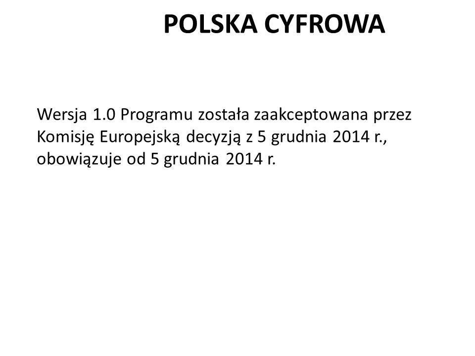 POLSKA CYFROWA Wersja 1.0 Programu została zaakceptowana przez Komisję Europejską decyzją z 5 grudnia 2014 r., obowiązuje od 5 grudnia 2014 r.