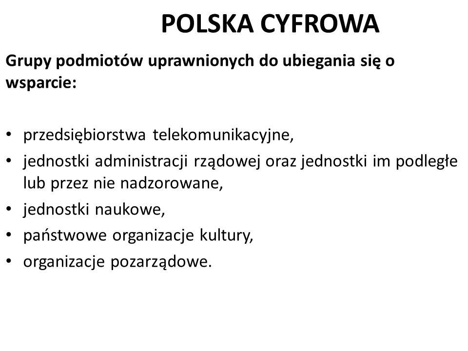 POLSKA CYFROWA Grupy podmiotów uprawnionych do ubiegania się o wsparcie: przedsiębiorstwa telekomunikacyjne, jednostki administracji rządowej oraz jed