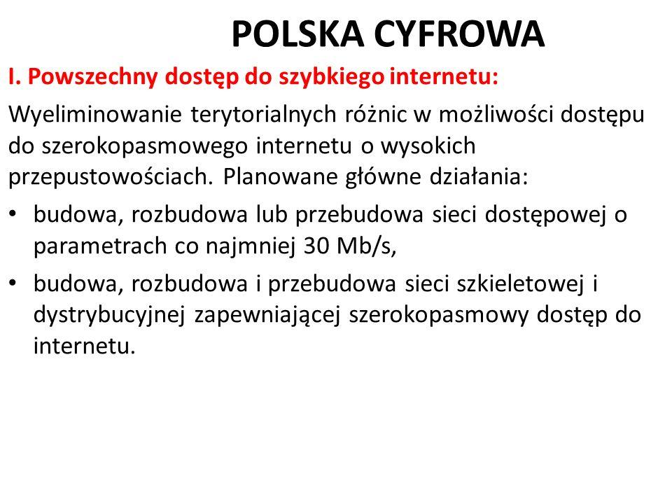 POLSKA CYFROWA I. Powszechny dostęp do szybkiego internetu: Wyeliminowanie terytorialnych różnic w możliwości dostępu do szerokopasmowego internetu o