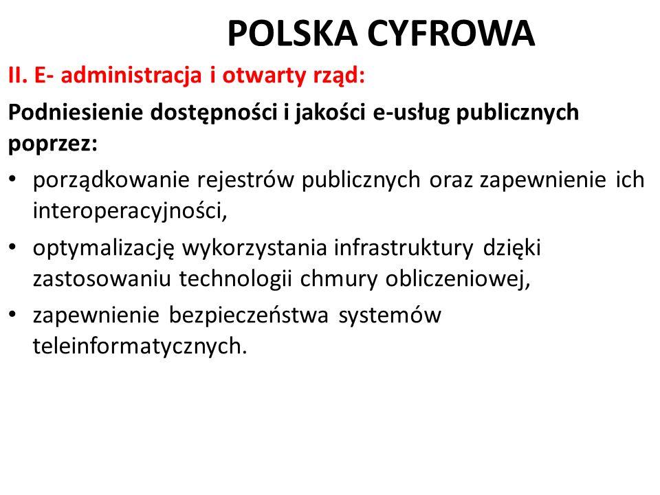 POLSKA CYFROWA II. E- administracja i otwarty rząd: Podniesienie dostępności i jakości e-usług publicznych poprzez: porządkowanie rejestrów publicznyc