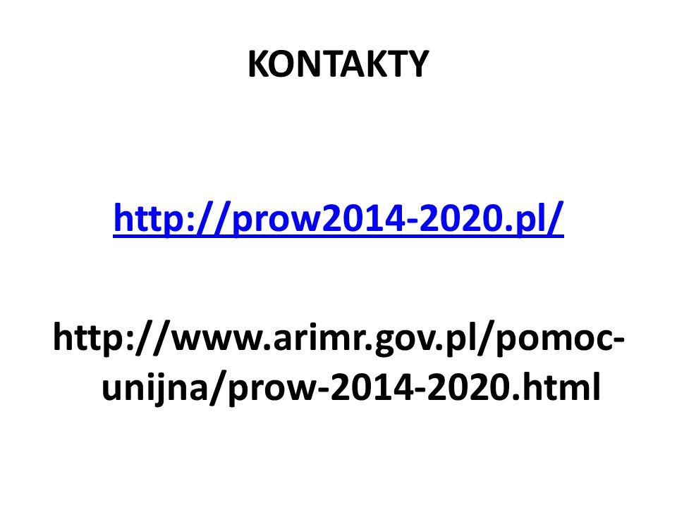 KONTAKTY http://prow2014-2020.pl/ http://www.arimr.gov.pl/pomoc- unijna/prow-2014-2020.html