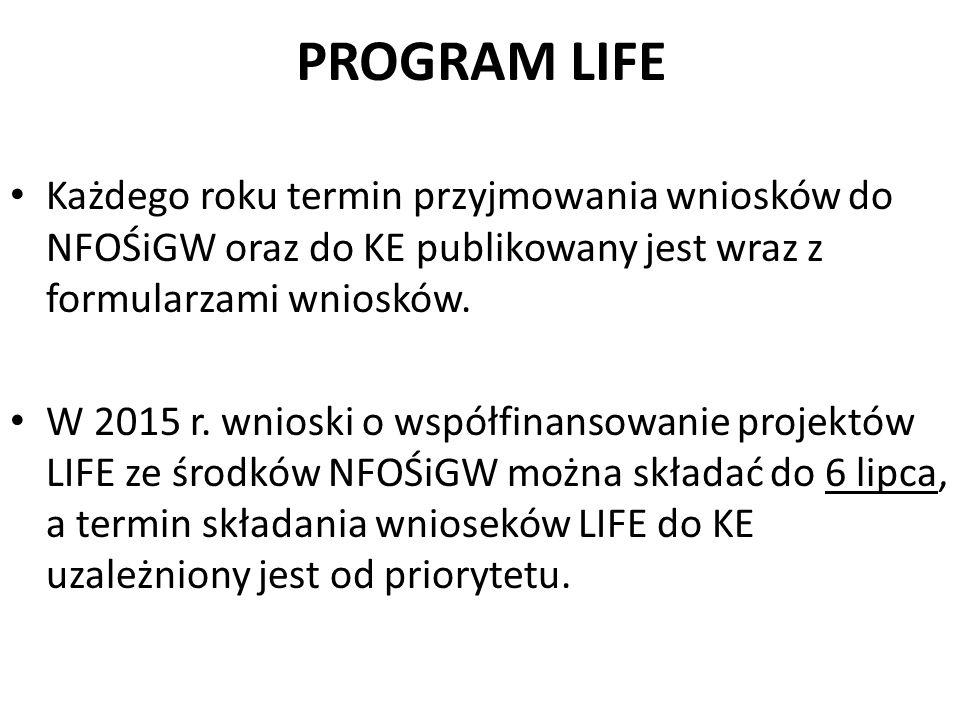 PROGRAM LIFE Każdego roku termin przyjmowania wniosków do NFOŚiGW oraz do KE publikowany jest wraz z formularzami wniosków. W 2015 r. wnioski o współf