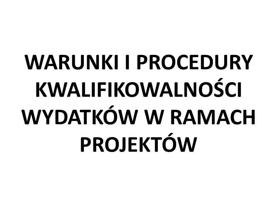 WARUNKI I PROCEDURY KWALIFIKOWALNOŚCI WYDATKÓW W RAMACH PROJEKTÓW