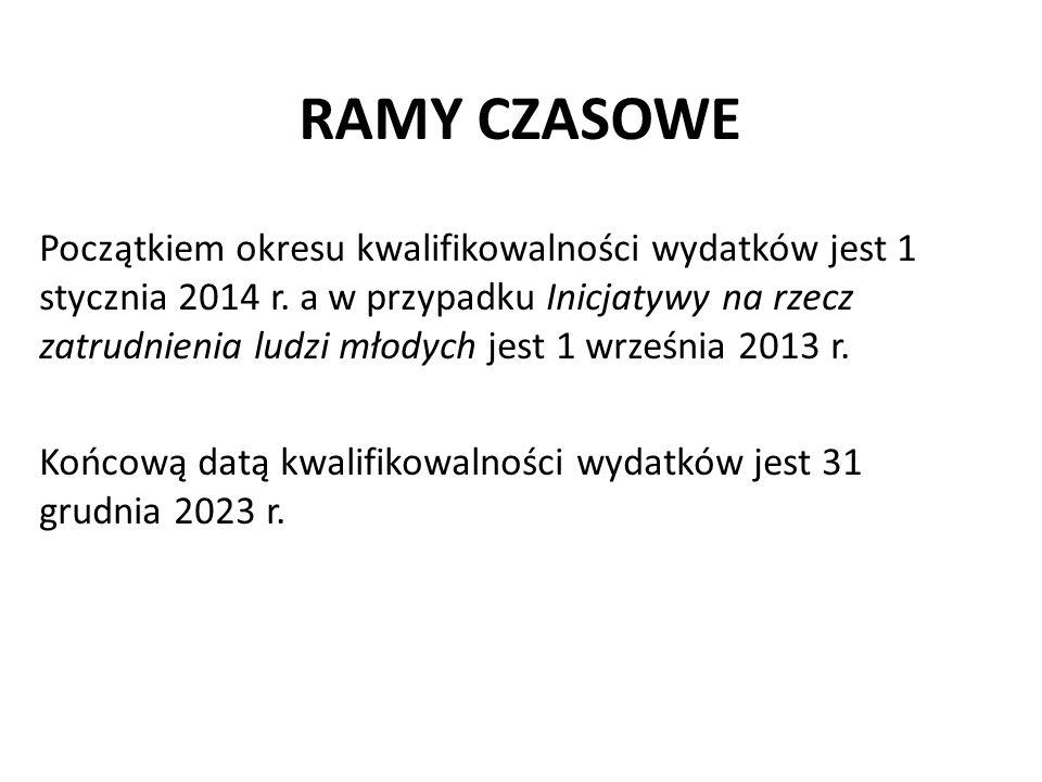 RAMY CZASOWE Początkiem okresu kwalifikowalności wydatków jest 1 stycznia 2014 r. a w przypadku Inicjatywy na rzecz zatrudnienia ludzi młodych jest 1