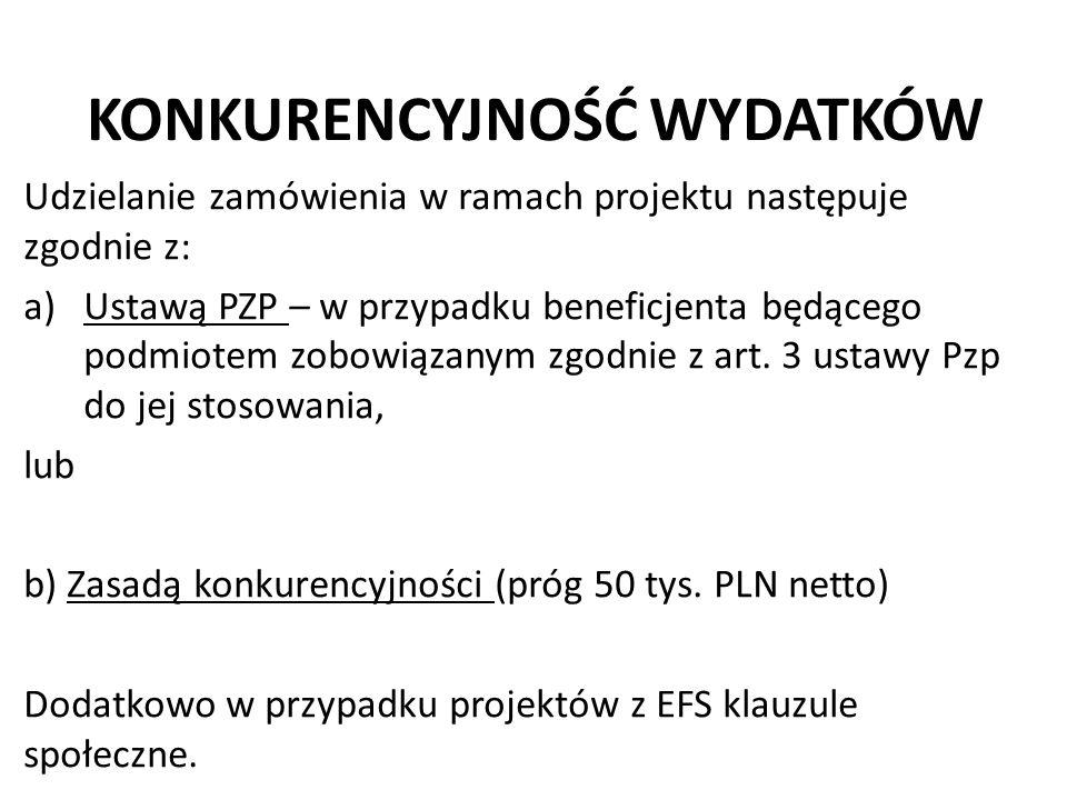 KONKURENCYJNOŚĆ WYDATKÓW Udzielanie zamówienia w ramach projektu następuje zgodnie z: a)Ustawą PZP – w przypadku beneficjenta będącego podmiotem zobow