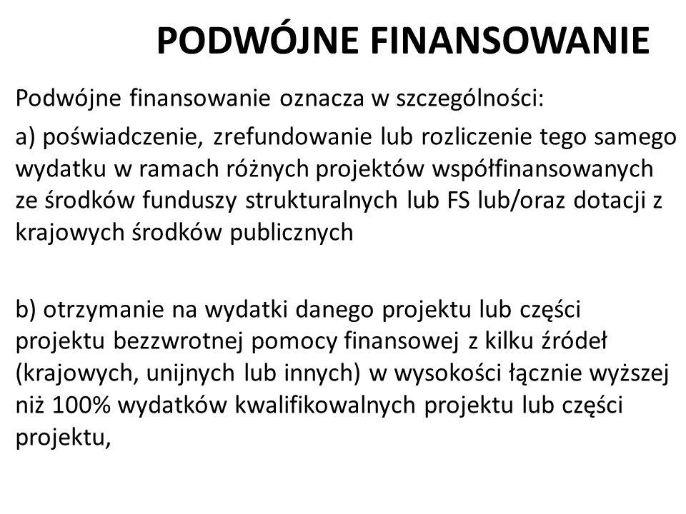 PODWÓJNE FINANSOWANIE Podwójne finansowanie oznacza w szczególności: a) poświadczenie, zrefundowanie lub rozliczenie tego samego wydatku w ramach różn