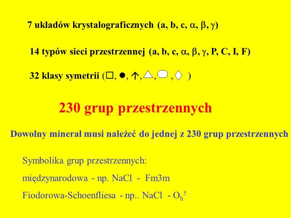 7 układów krystalograficznych (a, b, c, , ,  ) 14 typów sieci przestrzennej (a, b, c, , , , P, C, I, F) 32 klasy symetrii ( ,, ,,, ) 230 grup