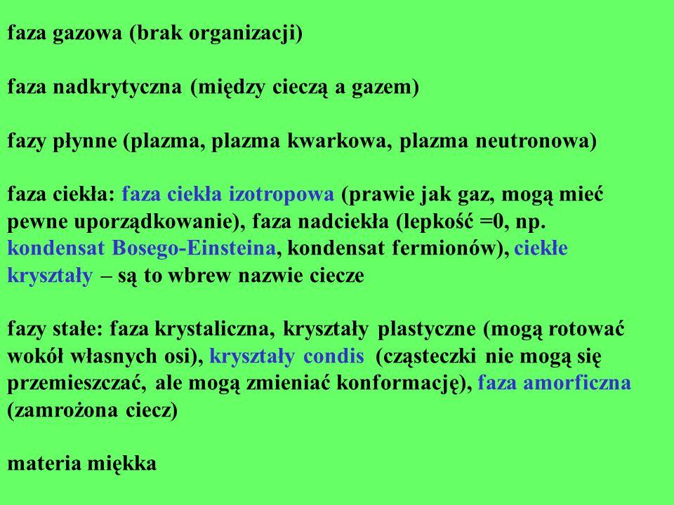 faza gazowa (brak organizacji) faza nadkrytyczna (między cieczą a gazem) fazy płynne (plazma, plazma kwarkowa, plazma neutronowa) faza ciekła: faza ci