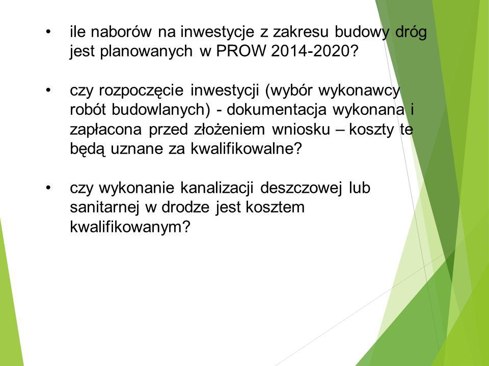 ile naborów na inwestycje z zakresu budowy dróg jest planowanych w PROW 2014-2020.