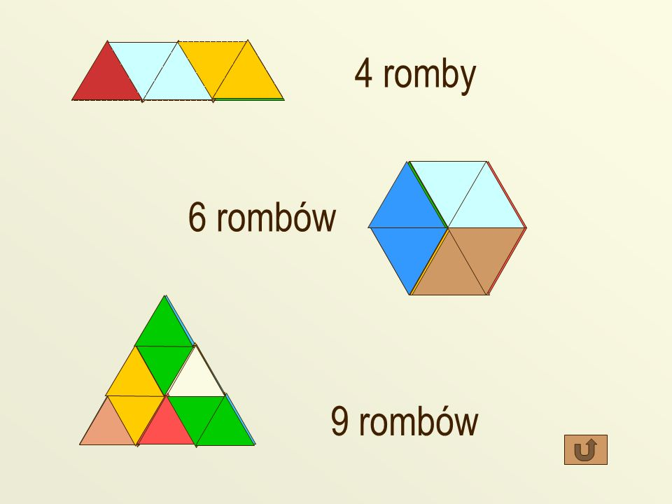 4 romby 6 rombów 9 rombów