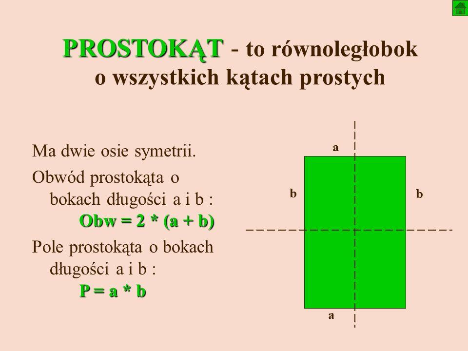 PROSTOKĄT PROSTOKĄT - to równoległobok o wszystkich kątach prostych Ma dwie osie symetrii.