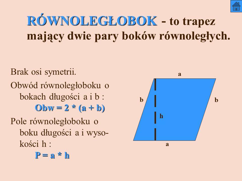 RÓWNOLEGŁOBOK RÓWNOLEGŁOBOK - to trapez mający dwie pary boków równoległych.
