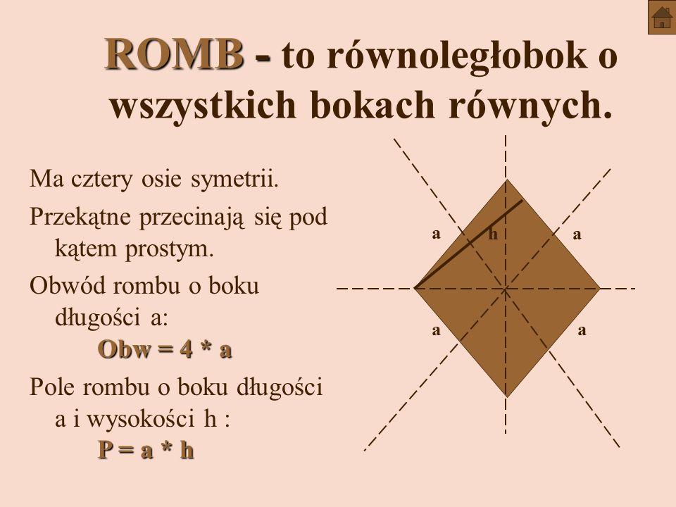 ROMB - ROMB - to równoległobok o wszystkich bokach równych.