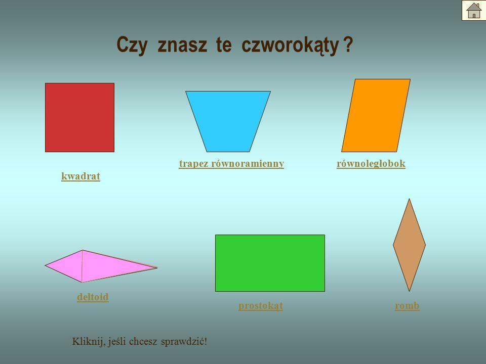 Uzupełnij podany schemat czworokąt trapez równoległobok romb prostokąt kwadrat jedna para boków równoległych dwie pary boków równoległych kąty proste wszystkie boki równe kąty proste wszystkie boki równe Kliknij, jeśli chcesz sprawdzić !