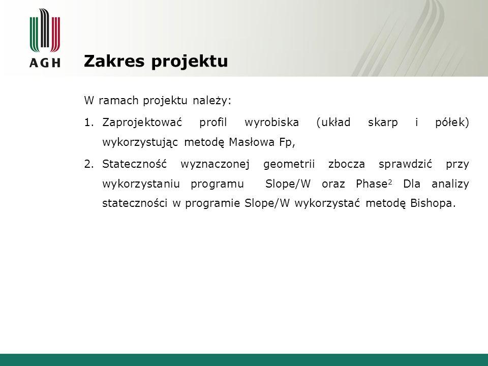 W ramach projektu należy: 1.Zaprojektować profil wyrobiska (układ skarp i półek) wykorzystując metodę Masłowa Fp, 2.Stateczność wyznaczonej geometrii