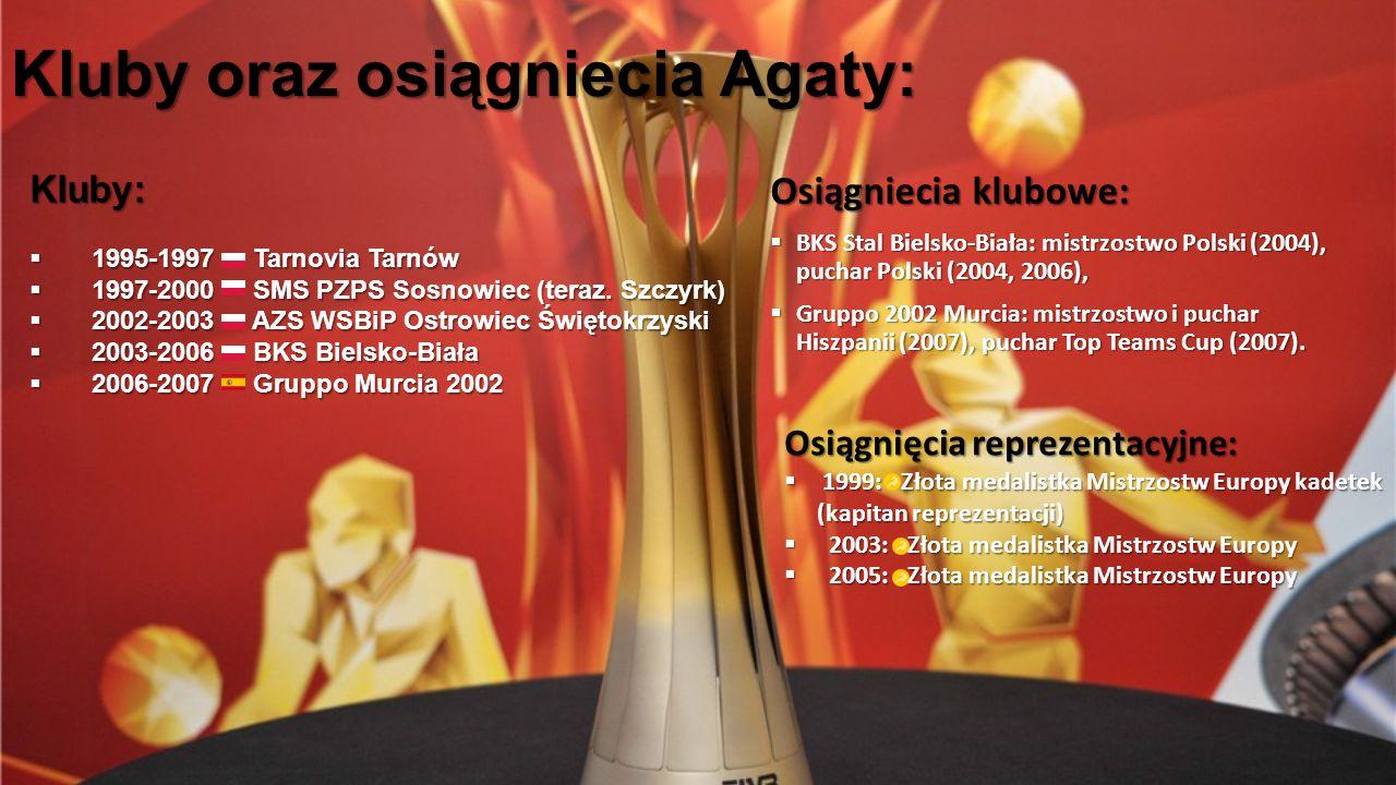 Kluby oraz osiągniecia Agaty: Osiągniecia klubowe:  BKS Stal Bielsko-Biała: mistrzostwo Polski (2004), puchar Polski (2004, 2006),  Gruppo 2002 Murc