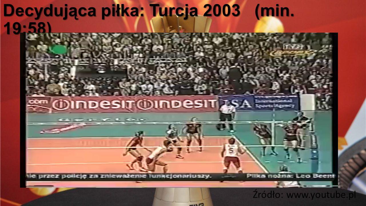 Decydująca piłka: Turcja 2003 (min. 19:58) Źródło: www.youtube.pl