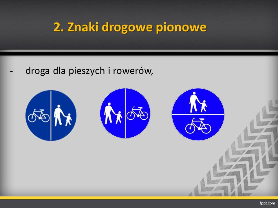2. Znaki drogowe pionowe -droga dla pieszych i rowerów,