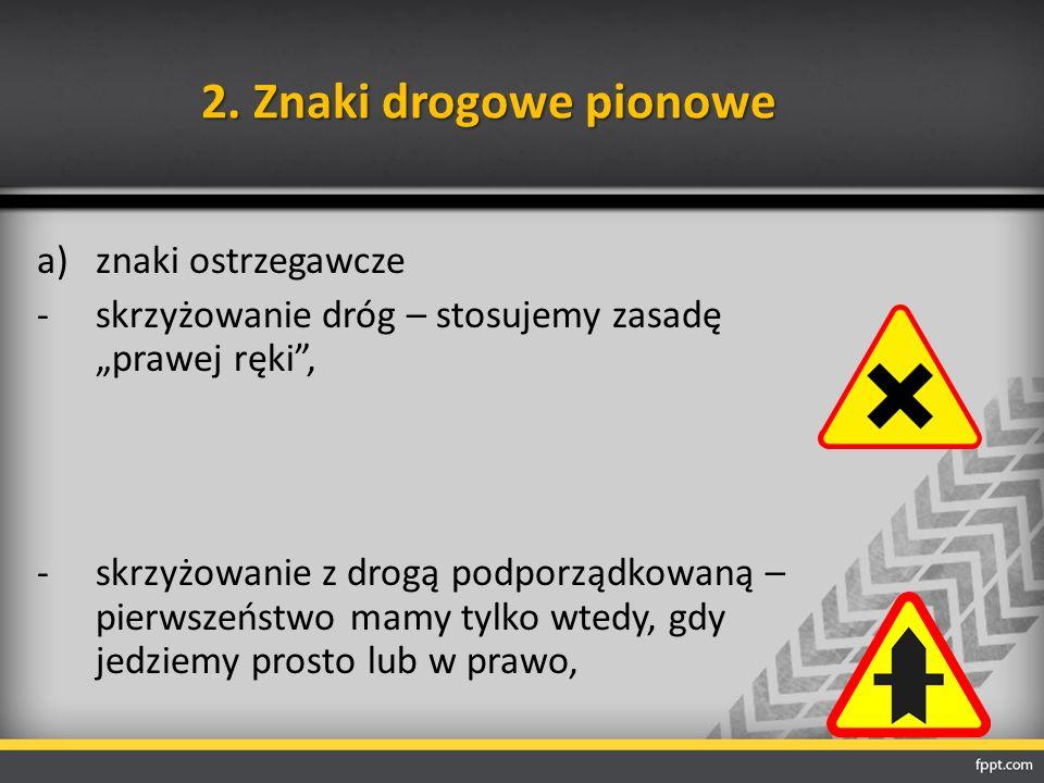 """2. Znaki drogowe pionowe a)znaki ostrzegawcze -skrzyżowanie dróg – stosujemy zasadę """"prawej ręki"""", -skrzyżowanie z drogą podporządkowaną – pierwszeńst"""