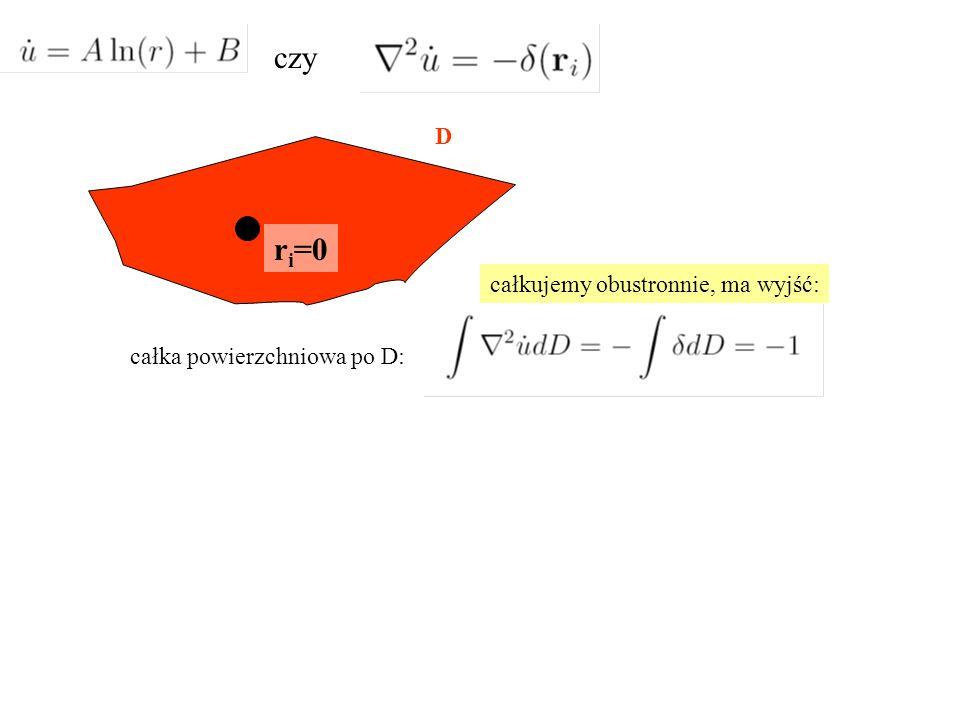całka powierzchniowa po D: D r i =0 całkujemy obustronnie, ma wyjść: czy