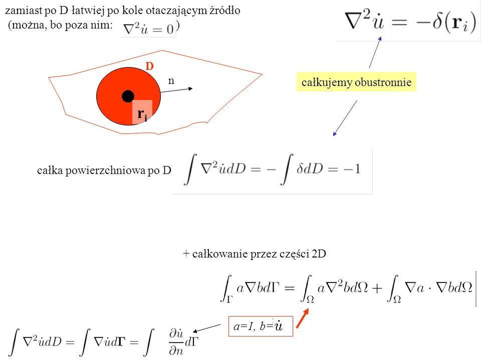 całka powierzchniowa po D: D + całkowanie przez części 2D n całkujemy obustronnie zamiast po D łatwiej po kole otaczającym źródło (można, bo poza nim: ) a=1, b= riri