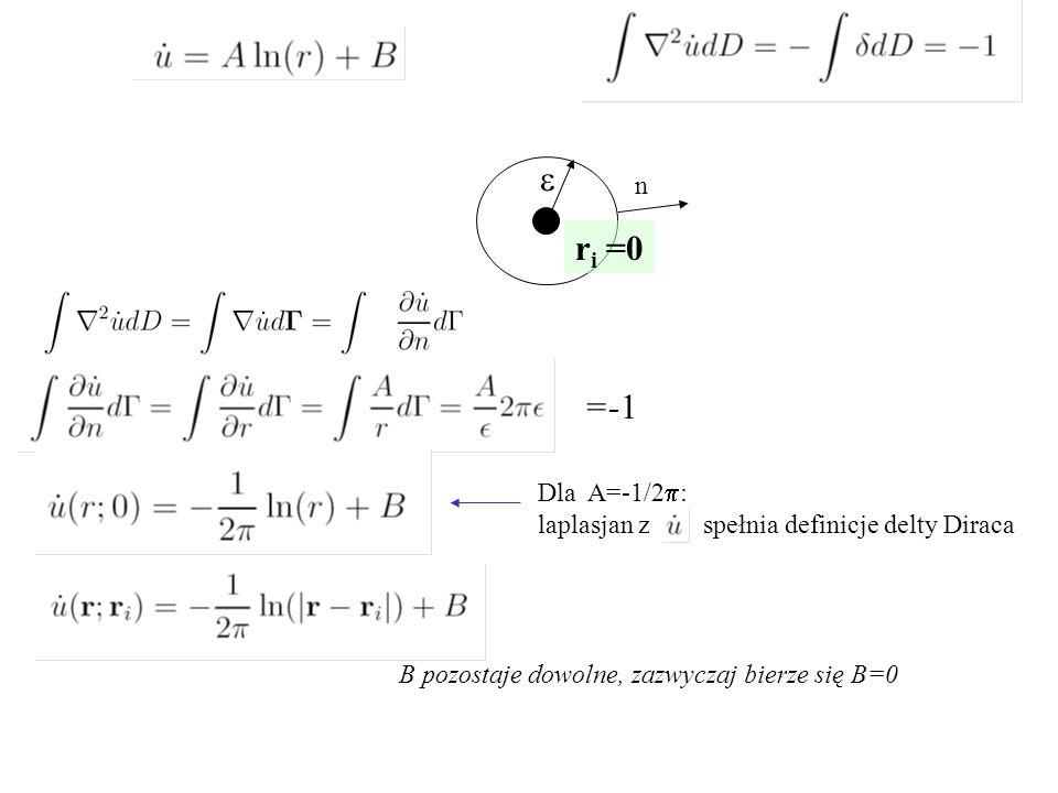 e r i =0 n  B pozostaje dowolne, zazwyczaj bierze się B=0 Dla A=-1/2  : laplasjan z spełnia definicje delty Diraca =-1