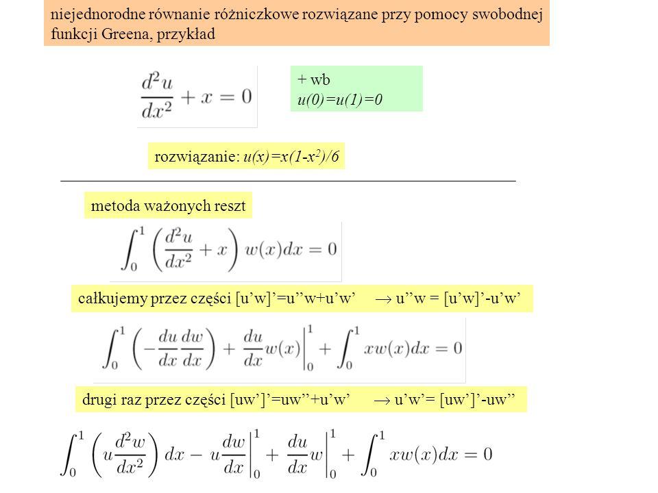 niejednorodne równanie różniczkowe rozwiązane przy pomocy swobodnej funkcji Greena, przykład + wb u(0)=u(1)=0 rozwiązanie: u(x)=x(1-x 2 )/6 metoda ważonych reszt całkujemy przez części [u'w]'=u''w+u'w'  u''w = [u'w]'-u'w' drugi raz przez części [uw']'=uw''+u'w'  u'w'= [uw']'-uw''