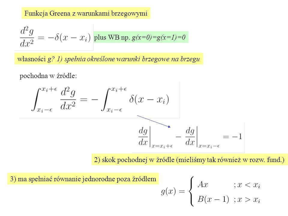 plus WB np.g(x=0)=g(x=1)=0 Funkcja Greena z warunkami brzegowymi własności g.