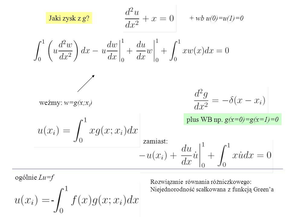 Jaki zysk z g? weźmy: w=g(x;x i ) + wb u(0)=u(1)=0 plus WB np. g(x=0)=g(x=1)=0 ogólnie Lu=f zamiast: Rozwiązanie równania różniczkowego: Niejednorodno