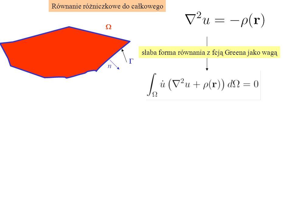 Równanie różniczkowe do całkowego   n słaba forma równania z fcją Greena jako wagą