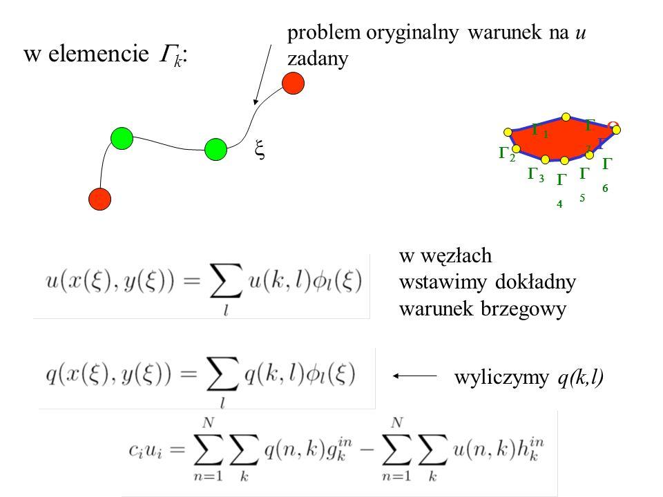          w elemencie  k :  problem oryginalny warunek na u zadany w węzłach wstawimy dokładny warunek brzegowy wyliczymy q(k,l)