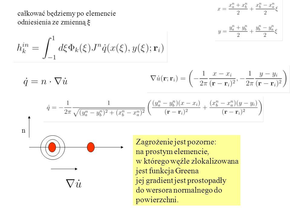 całkować będziemy po elemencie odniesienia ze zmienną  Zagrożenie jest pozorne: na prostym elemencie, w którego węźle zlokalizowana jest funkcja Greena jej gradient jest prostopadły do wersora normalnego do powierzchni.