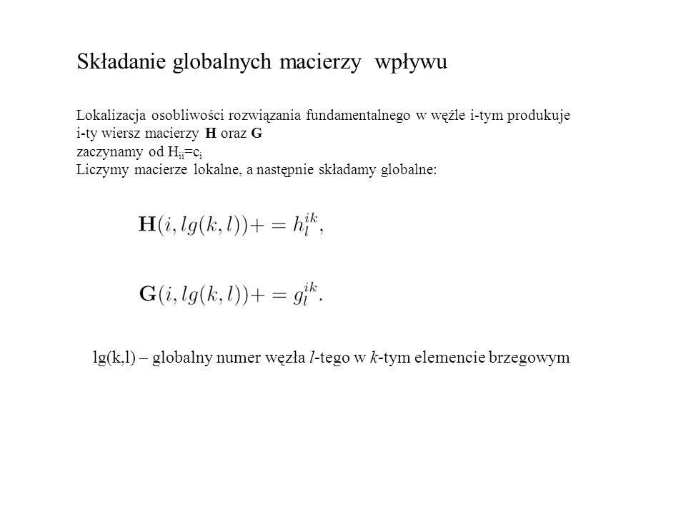 Składanie globalnych macierzy wpływu Lokalizacja osobliwości rozwiązania fundamentalnego w węźle i-tym produkuje i-ty wiersz macierzy H oraz G zaczynamy od H ii =c i Liczymy macierze lokalne, a następnie składamy globalne: lg(k,l) – globalny numer węzła l-tego w k-tym elemencie brzegowym