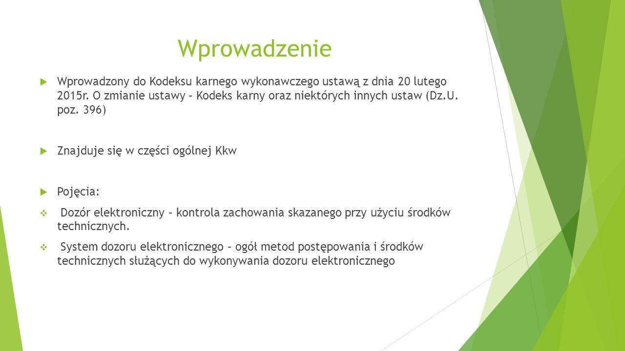 Zakres przedmiotowy systemu dozoru elektronicznego Systemem dozoru elektronicznego można objąć:  karę ograniczenia wolności (art.