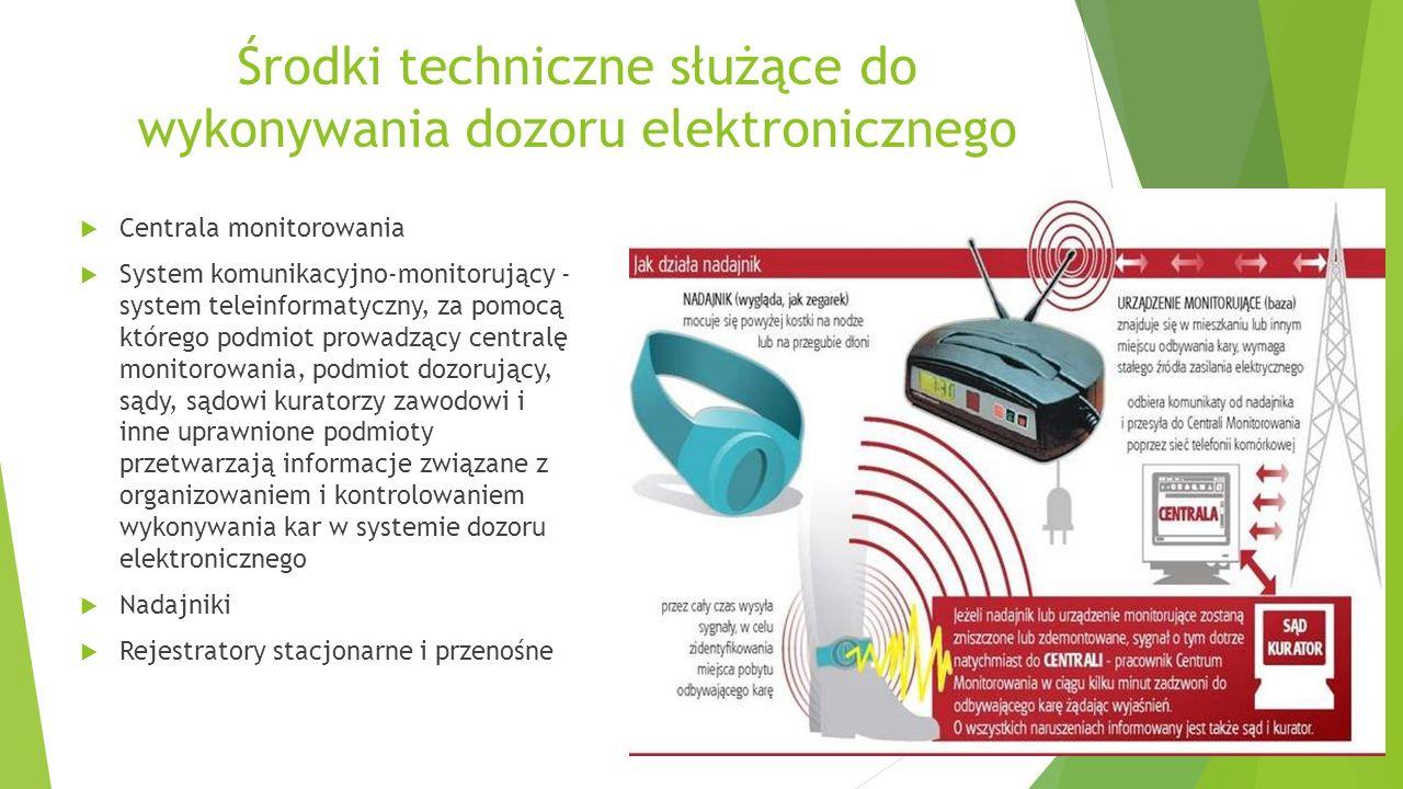 Środki techniczne służące do wykonywania dozoru elektronicznego  Centrala monitorowania  System komunikacyjno-monitorujący - system teleinformatyczn