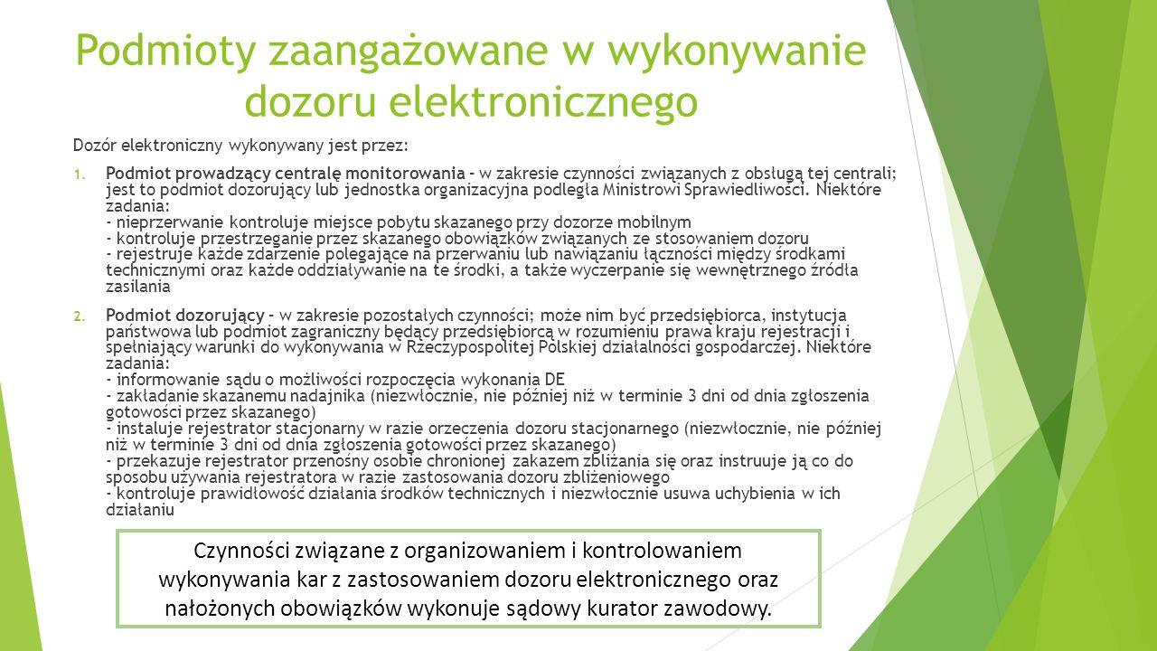 Podmioty zaangażowane w wykonywanie dozoru elektronicznego Dozór elektroniczny wykonywany jest przez: 1. Podmiot prowadzący centralę monitorowania – w