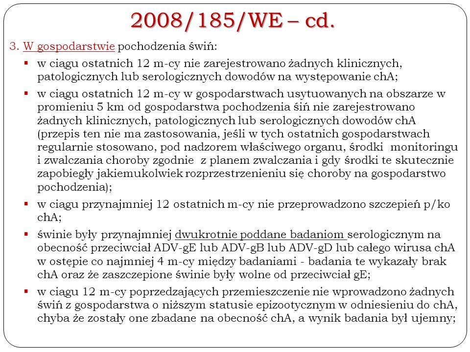 2008/185/WE – cd. 3.W gospodarstwie pochodzenia świń:  w ciągu ostatnich 12 m-cy nie zarejestrowano żadnych klinicznych, patologicznych lub serologic