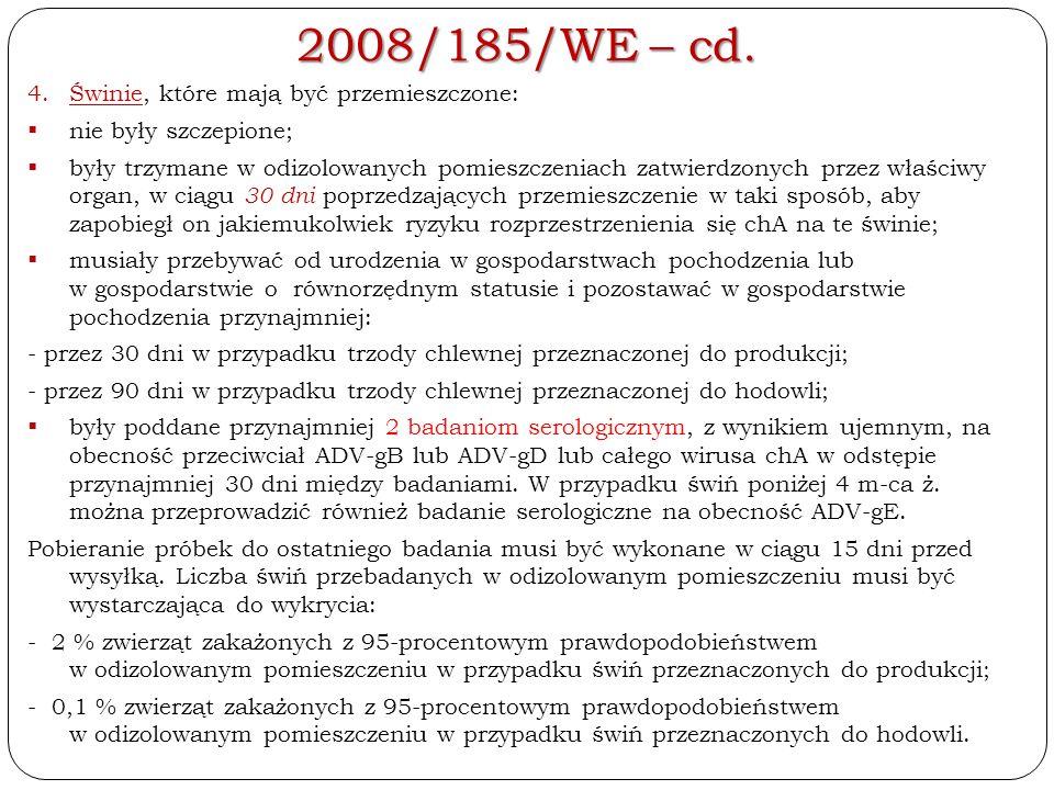 2008/185/WE – cd. 4.Świnie, które mają być przemieszczone:  nie były szczepione;  były trzymane w odizolowanych pomieszczeniach zatwierdzonych przez