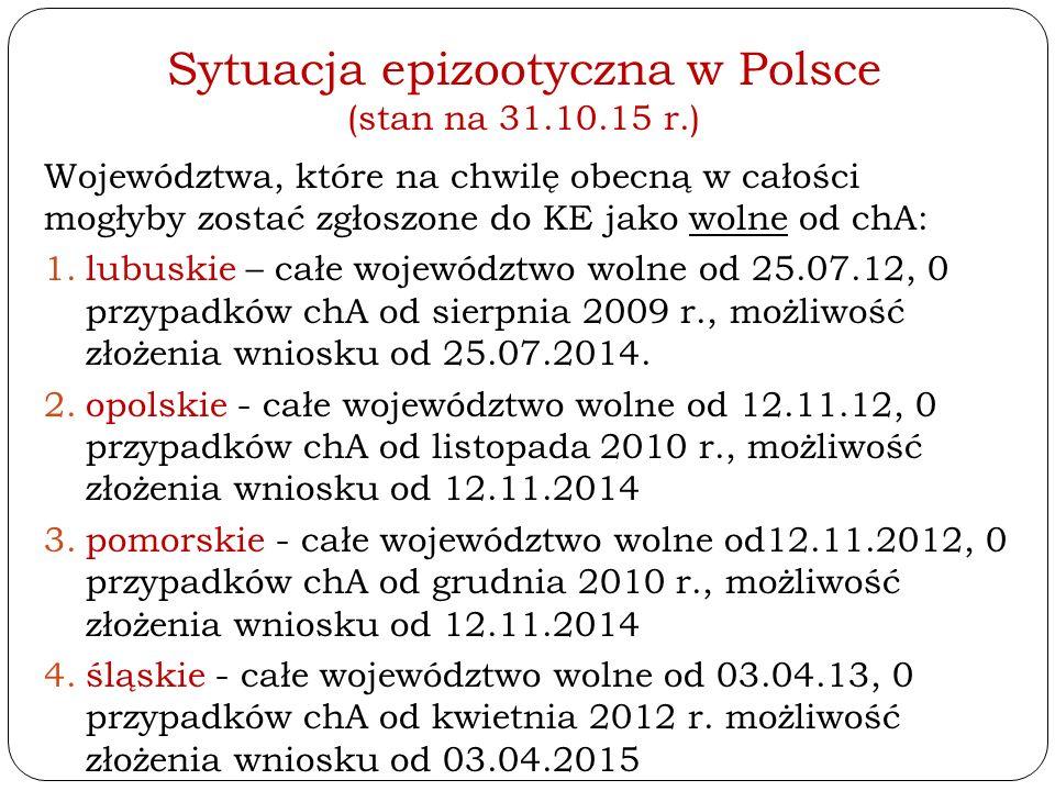 Sytuacja epizootyczna w Polsce (stan na 31.10.15 r.) Województwa, które na chwilę obecną w całości mogłyby zostać zgłoszone do KE jako wolne od chA: 1