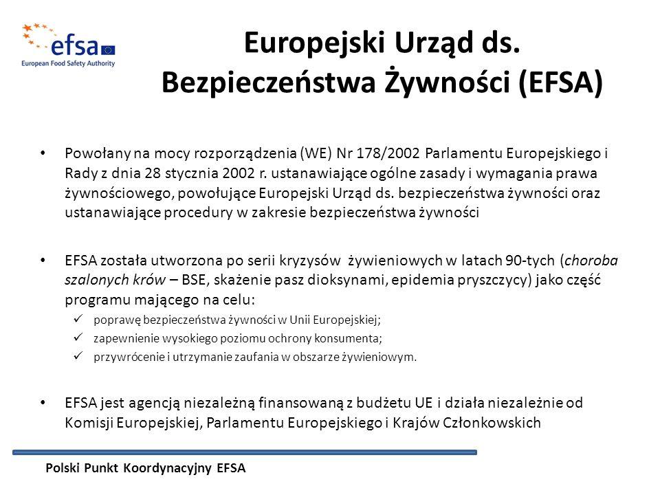 1.Wymiana informacji naukowych - gromadzenie i przekazywanie dostępnych danych naukowych i informacji na temat ocen ryzyka przeprowadzanych w zakresie bezpieczeństwa żywności Informowanie opinii publicznej o zadaniach realizowanych przez EFSA, projektach naukowych, konsultacjach publicznych 2.Tworzenie baz danych lub sieci ekspertów naukowych - utworzenie bazy danych instytucji i ekspertów współpracujących z EFSA 3.Poprawa widoczności EFSA oraz jej roli w systemie bezpieczeństwa żywności EU - organizacja konferencji naukowych i szkoleń 4.Szkolenia w zakresie oceny ryzyka 5.Koordynacja sieci naukowych EFSA na poziomie krajowym – 15 sieci naukowych EFSA, w każdej jest przedstawiciel Polski 6.Współpraca międzynarodowa – sieć PK Państw Członkowskich Polski Punkt Koordynacyjny EFSA