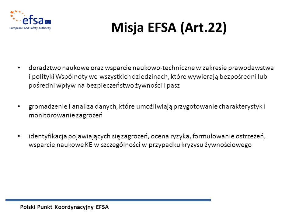 Misja EFSA (Art.22) doradztwo naukowe oraz wsparcie naukowo-techniczne w zakresie prawodawstwa i polityki Wspólnoty we wszystkich dziedzinach, które wywierają bezpośredni lub pośredni wpływ na bezpieczeństwo żywności i pasz gromadzenie i analiza danych, które umożliwiają przygotowanie charakterystyk i monitorowanie zagrożeń identyfikacja pojawiających się zagrożeń, ocena ryzyka, formułowanie ostrzeżeń, wsparcie naukowe KE w szczególności w przypadku kryzysu żywnościowego Polski Punkt Koordynacyjny EFSA
